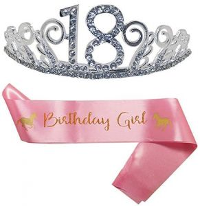 18th Birthday Party Decoration Kit Tiara And Cute Unicorn Pink Satin Sash Happy Supplies Crystal Crown