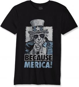 36959ae63 Hanes Men's Graphic T-Shirt-Americana Collection, Black/Because Merica, X  Large