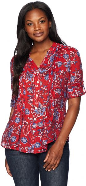8f6c851ce2b ... Women s Elbow Sleeve Printed Light Weight Gauze Button-Front Top