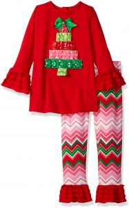 Rare Editions Little Girls' Tree Applique Legging Set, Red/White/Green, 6
