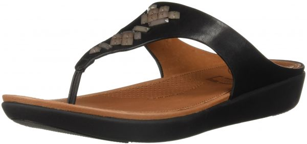 5efd7fbed FitFlop Women s Banda Leather Toe-Thong Crystal Slide Sandal