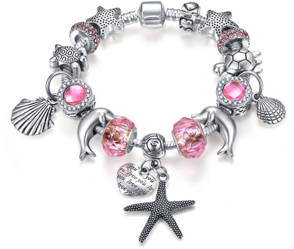 8b2dbaa75 Pandora Style Silver Plated Pink Crystal Beads Starfish Pendant Charm  Bracelet for Women Girls Jewellry Gift 18cm | KSA | Souq