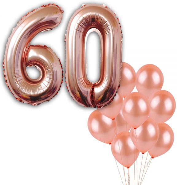 60 Number Balloons Rose Gold Birthday Decorations