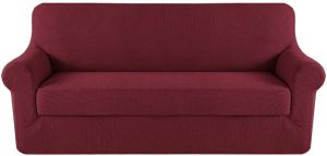 Slipcover Sofa Covers Red for 3 Seat Couch Slipcover/Lounge Covers, Knit  Spandex Stretch Sofa Slipcovers 170x190cm(Sofa, Burgundy)
