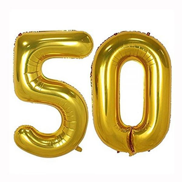 40inch Gold Foil 50 Helium Jumbo Digital Number Balloons 50th