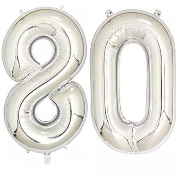 40inch Silver Foil 80 Helium Jumbo Digital Number Balloons 80th