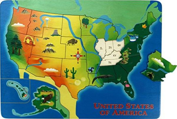 Lift and Learn U. S. Map Puzzle- Made in USA | Souq - UAE