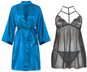 IngerT Ladies Sleepwear Set Slips Silky Long Sleeves Robe with See through  Dress and Pantie for Women d944f4f61