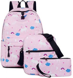 88c8ff023263 Unicorn Backpack Junior High School Student Shoulder Bag Women's Backpack  Set 3Pcs Casual Bags Durable Breathable Travel Portable Multi-Functional  Large ...