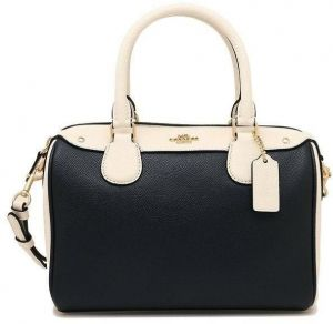 e3d91f2521f0 Coach Women s Mini Bennett Chalk Crossgrain Leather Satchel Bag - Black    White