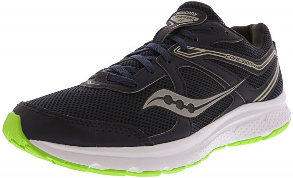 68a99d93655cb Saucony Men s Grid Cohesion 11 Navy   Slime Ankle-High Mesh Running ...