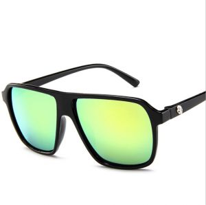 23cf37684703b Men s sunglasses retro big box sunglasses bright black frame green lenses