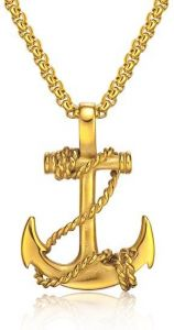 d7fe92977c397 OPK Stainless Steel Necklace Gold Anchor Pendant Casual Fashion Jewelry for  Men -GX1134J