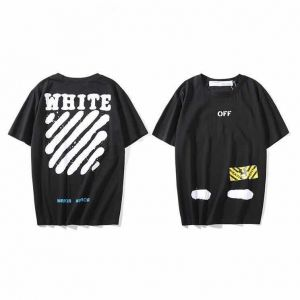 d4732687 Off-white Classical Stripe Black T-shirt Fashion Tee Unisex Short Sleeve  For Men and Women