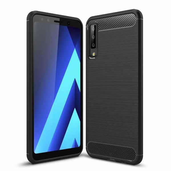 differently 9307b fb472 Samsung Galaxy a7 2018 case Carbon Brushed Soft TPU Shockproof cover - Black