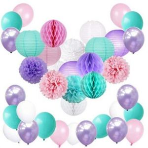 Colorful Cute Mermaid Unicorn Pastel Party Supplies Decorations Purple Aqua Pink And White