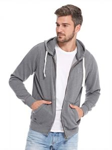 Tokyo Laundry Embroidered Zip Up Hoodie for Men - Timberwolf Grey 465900ce74