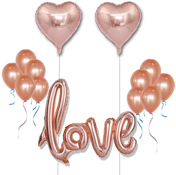 13 PCS Rose Gold Latex Balloon Set Including 12 Balloons18 Foil Balloons40 Love Balloons For Wedding Decoration Happy Birthday Party
