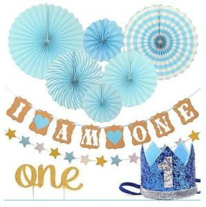 1st Baby Boy Birthday PartyFIRST BIRTHDaY DECORaTION SET FOR BOY Blue Hat Crown Circle Dots Paper Garland Cake Topper Fiesta Hanging Fan