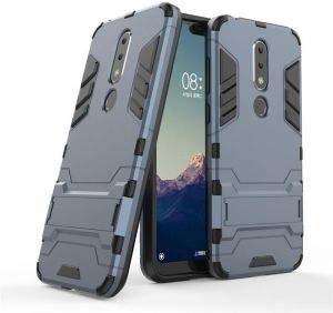 Nokia 6.1 Plus Iron Man Case with Stand back cover - Dark Blue