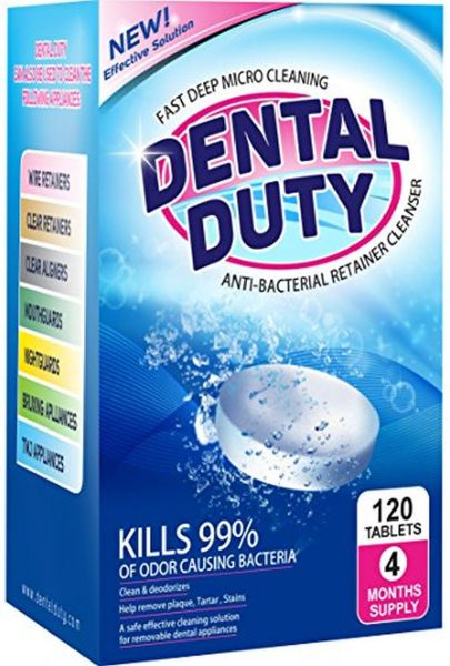 120 Retainer And Denture Cleaning Tablets- (4 Months Supply)- Removes Stain, Plaque & Bad Odor from Dentures, Nightguard, Mouth Guard & Removable Dental Appliances. Made in USA.