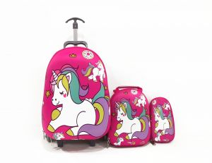 34c0d44a949a8 Kids School trolley Rolling travel bag unicorn set of 3 17inch 3-12years  olds