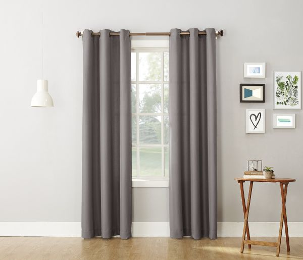 No 918 Montego Casual Textured Grommet Curtain Panel Nickel Gray