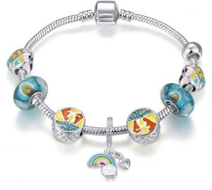 Silver Plated Pandora Element Fashion Bracelet Gift for Girls and Daughter 18cm