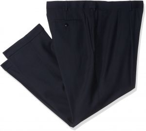 Louis Raphael Men's Big-Tall Super 150 Twill Pleated with Comfort Waist Pant, Navy, 56x30