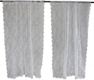 DII Sheer Lace Decorative Curtain Panels For Bedroom Living Room Guest Or Formal Sitting Areas Light Airy To Filter Sunlight Into