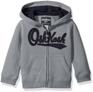 280ce692d Osh Kosh Boys' Toddler Full Zip Logo Hoodie, Misty Grey, 4T