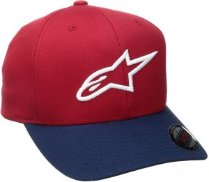 a03fc0a1d73b5 Alpinestars Men s Curved Bill Structured Crown Flex Back 3D Embroidered Logo  Flexfit Hat