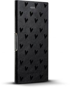san francisco 84c01 96ece Luxendary Cute Little Hearts Pattern Design iPhone X Black Leather Wallet  Case - Hickory Black