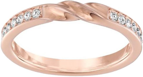 Swarovski Curly Rose Gold Crystal Promise Ring - Size 15.61 mm