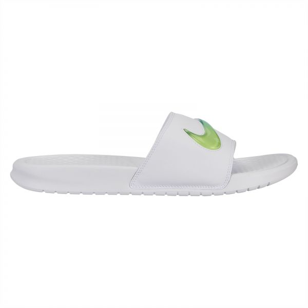 577f4485644e Nike Benassi JDI SE Slide Sandals for Men - White Hyper Jade-Volt ...