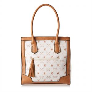45ed0bd8973 Beverly Hills Polo Club BHVa1598 Rolled Handle Tassel Tote Bag for Women -  Leather, Beige