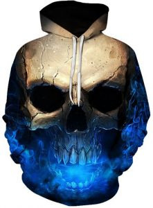 08d3a997ec39 Casual men s sweater digital printing sleeve large size hoodie sweater  fashion top with cap round collar Streetwear Clothing 3D skull print ...