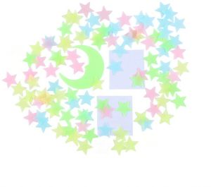 100pcs Glow In The Dark Stars Stickers For Ceiling Adhesive 3d Glowing Stars And Moon For Kids Bedroom Luminous Stars Stickers Create A Realistic