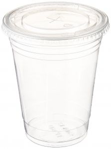 733f8dad749 Clear disposable plastic cups with flat covers (14 oz)   100 pieces   for  cold drinks   bubble popa   iced tea   tea