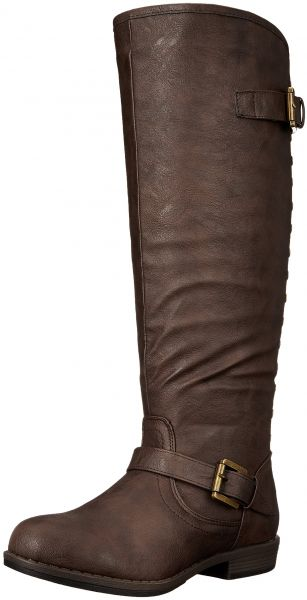 2f34d432b65a Journee Collection Women's Durango-Wc Riding Boot, Brown Wide Calf ...