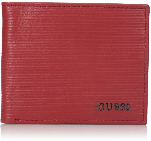 Guess Men s Leather Slim Bifold Wallet, red, One Size   Souq - UAE b55587ead8