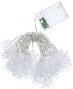 3W 7.5Merters 50 LED Snowflake String Light White Constant Bright/ Flash Double Lamp Effects Battery Powered Operated Twistable Bendable Foldable IP44 Water ...