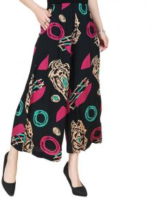 fb50afe452f71 Sweety Nina Indonesian Cotton Boho Straight Trouser Capri National Style  Palazzo Floral Loose Wide Leg Pant Floral Print for Women and Girls -Black  Size XL