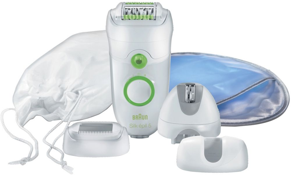 Braun Silk-épil SE5580 epilator with Comfort System and 3 attachments including an Efficiency Cap, a Sensitive Area Cap and a Facial Cap