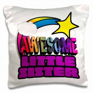 pc/_150082/_1 16 by 16 3dRose Big SIS Sister Blue Scallop and Polka Dots Family Sibling Design-Pillow Case