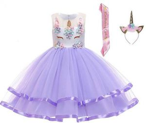 7efb844744a 3 pcs  Set Girl Unicorn Flower Dress Birthday Party Pageant Princess  Dresses with Headband