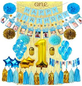 Blue Party 1st Birthday Decorations For Girl Mega Set
