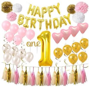 Happy Birthday Foil Balloons Banner First Decorations For GirlboyNumber 1 Balloon One Cake TopperPink Gold WhiteHeart Latex BalloonsPaper