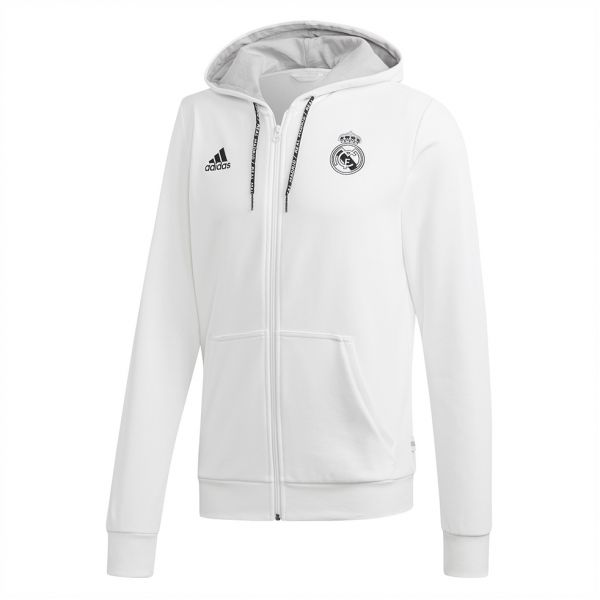 2ef826f96303 Adidas Weft knitted Real Madrid Hoodie for Men - White Grey Two F17 ...