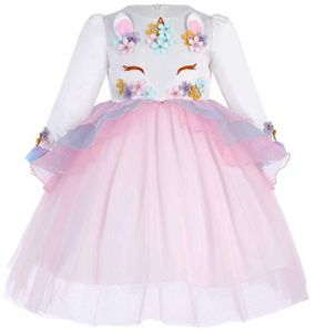 Light Pink Flower Girls Long Sleeve Princess Unicorn Tulle Dress for 9-10Y 0790c8c21711